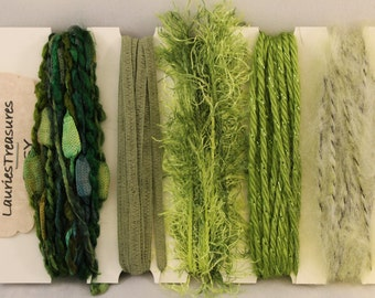 Specialty yarn art fiber embellishment bundle, Mossy green