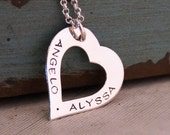 Love Heart necklace / Heart Washer / Custom Necklace / Hand Stamped washer / Mommy Necklace