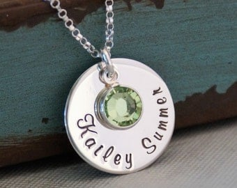 Personalized Sterling Silver Necklace / Hand Stamped Mommy Necklace / Name Tag with Birthstone (First and middle name)
