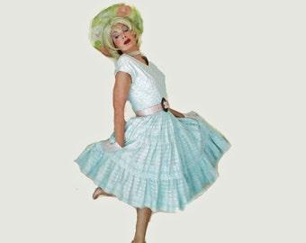 Vintage 1950s Circle Skirt Cupcake Dress - 50s Big Full Skirt Dress