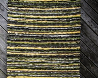Handwoven  vintage look, area rag rug -2.26' x 5.77',dark olive green, olive green, yellow, ready for sale