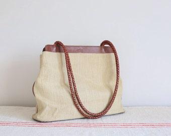 Vintage Tula tan brown leather woven shoulder bag handbag