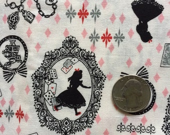 Half yard Alice in wonderland fabric ivory and pink  color Japanese fabric