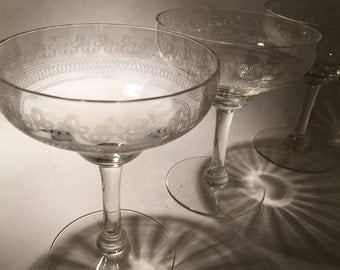 3 Needle Etched Champagne Coupes