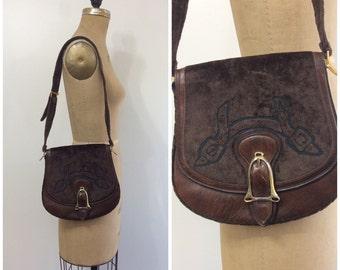 1970s Susan Gail Bag 70s Equestrian Velour