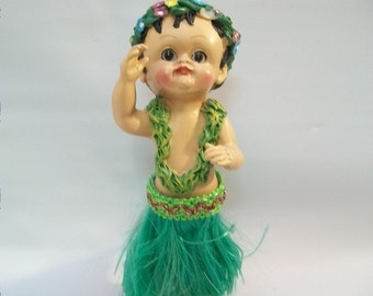 Vintage Hula Dancer, Hawaiian Souvenir, Dashboard Hula Dancer, Hawaiian Doll, Plastic Hula Dancing Doll, Bobble Doll,