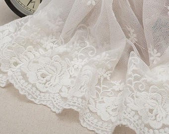 "5 yard 28cm 11.02"" wide ivory mesh tulle gauze fabric embroidered tapes lace trim ribbon 1150 free ship"