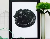 ON SALE Sleeping Dog Linocut Print