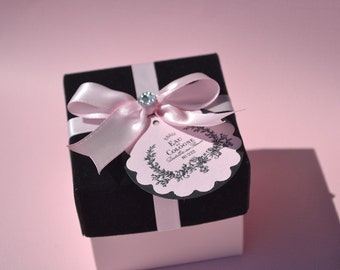 Paris, small Black velvet and pink gift box with bling, party favor, sweet 16, ready to fill, no fuss