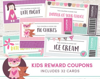 Kids Reward Coupons - Love Coupons - Instant Download - Printable