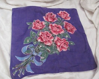 Large Beautiful Purple Roses Floral Cotton Hankie Handkerchief