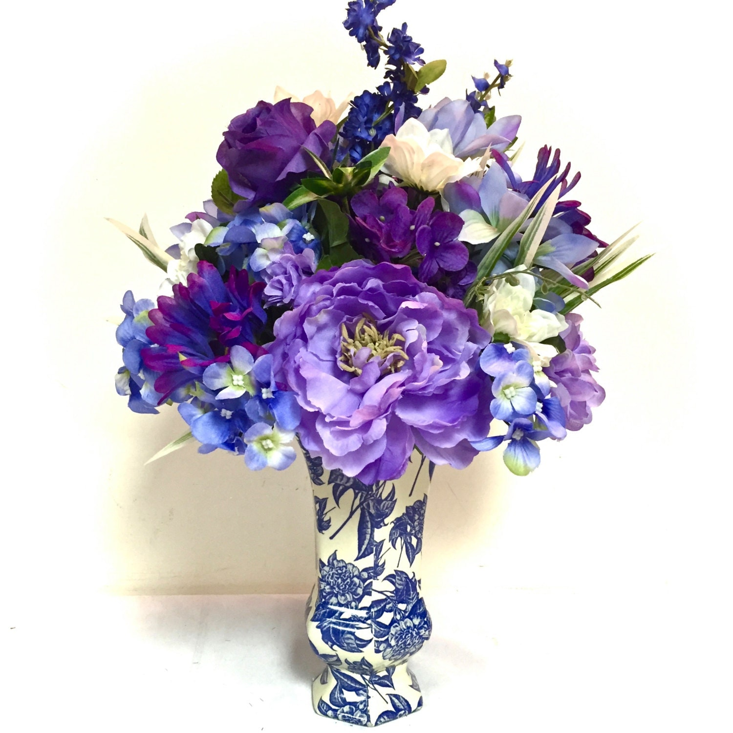 Tall silk floral arrangement centerpiece by