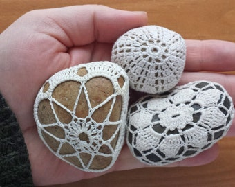 Crochet Lace Stones, 3 Crocheted Wish Stones, Doily Covered Polished Stones, Crochet Rocks
