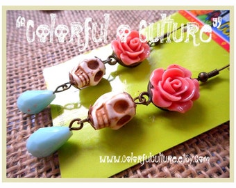 Dia de los Muertos - Day of the Dead  / White Sugar Skull Earrings, Pink Rose Resin Flower and Baby Blue Crystal Bead