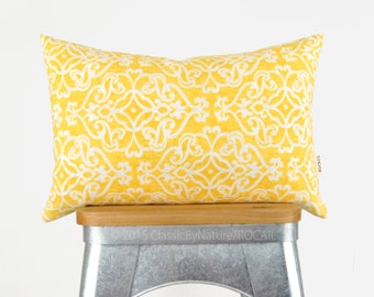 Modern Outdoor Pillow Case, Cushion Cover in Yellow, White and Beige | Patio Decor, Garden Decorations | 12x18 Damask Decorative Pillows