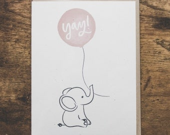Congratulations Card, Encouragement, Elephant Card, Balloon, Baby Shower Card, New Baby Card, Childs Birthday, Girl Baby Shower - No. 214-C