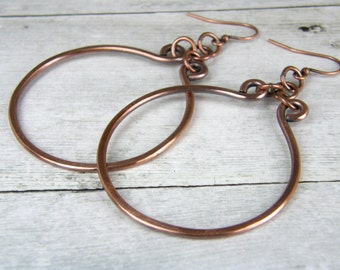 Hammered Copper HOOP Earrings, Antiqued Copper Hoop Earrings, Copper Wire Earrings Handmade In USA