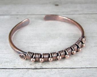 Antiqued Copper Wire Wrap Bangle With Copper Beads, MADE TO ORDER