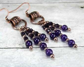 Amethyst and Copper Earrings, Antiqued Copper Earrings