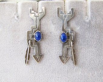 Vintage Native American Sterling silver Lapis Lazuli Arrow Earrings, 80's