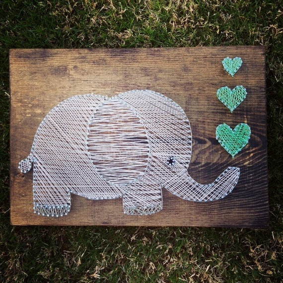 Elephant String Art Wall Hanging Nursery Decor By
