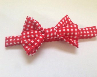 Handmade Bow tie for your little guy in red checkers
