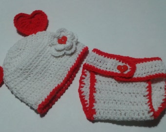 Custom Personalized Girl Valentines Day Red and White Heart Photo Prop Diaper Cover and Beanie Hat Set