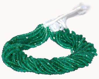 AAA Quality Green Onxy Shaded  Faceted Rondelles 3mm to 3.5mm 14 inch strand.