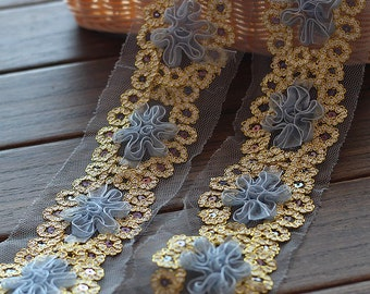 Fabulours Gold Sequined Lace Trim 3D Grey Tulle Flowers 2 yards