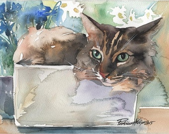 Print of the Original Watercolor Painting Tabby Cat Striped Cute Cat Grey Kitty Funny Giclee Print