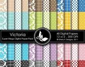 50% Off Victoria Super Mega Paper Pack - 48 Digital papers - 12 x12 - 300 DPI