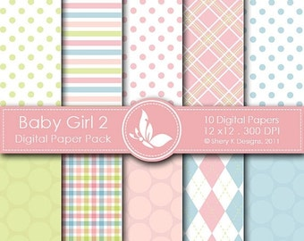 50% off Baby Girl 2 Paper Pack - 10 Printable  Digital paper - 12 x12 - 300 DPI //////2