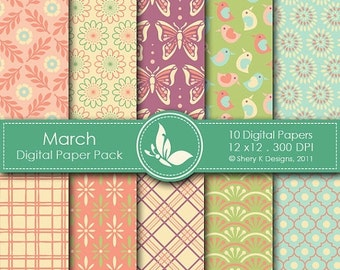 50% off March Paper Pack - 10 Digital papers - 12 x12 - 300 DPI