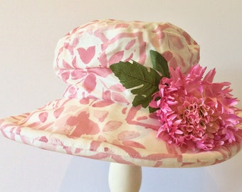 Pink and white summer hat with pink chrysanthemum OOAK