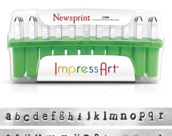 ImpressArt, Newsprint Lower Case Alphabet Stamp Set, 3mm - 1 Pc  (4955)/1
