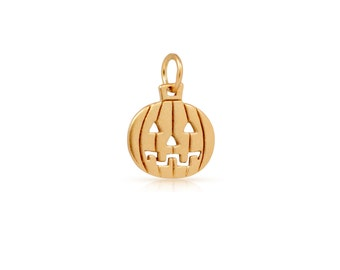Jack O lantern Pendant Charm Satin 24K Gold Plated Sterling Silver 14x8.5mm - 1pc High Quality (8316)/1