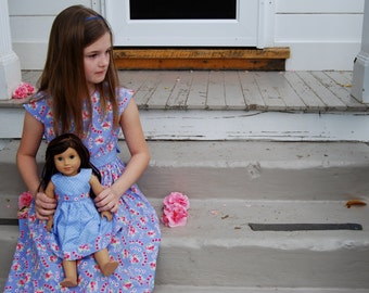 Country Farmhouse...girls dress with matching doll dress