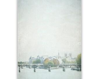Paris Photography, dreamy french decor, Paris decor,  dreamy Paris Wall Art, Paris bridge photo, Seine, aqua decor - Fine Art Photograph