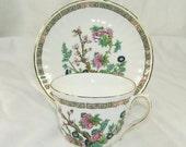 On Sale Vintage Duchess England Bone China Teacup and Saucer Asian Garden Pink Blue Flower Gold Trim