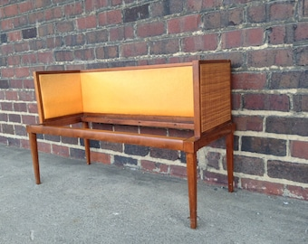 Mid-Century Caned Sides Upholstered Bench