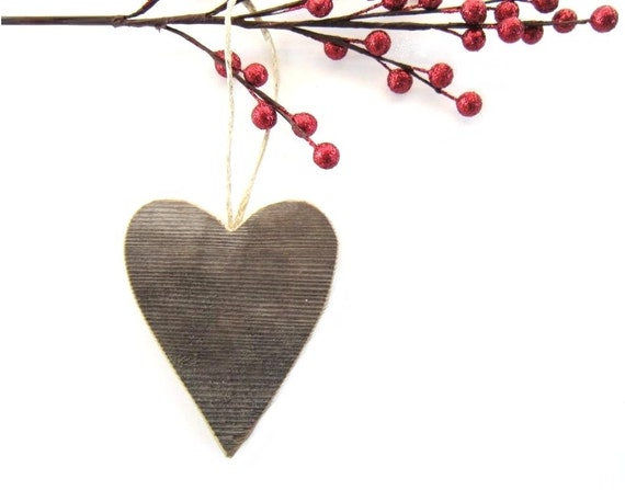 Rustic Heart Ornament . wood heart . wooden heart . heart shaped wood ornaments . reclaimed wood decor