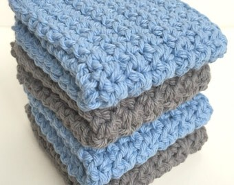 Crochet Dishcloths Washcloths - Set of 4 - For Kitchen, Bathroom, Baby - Slate Blue, Grey, Gray - 100% Cotton