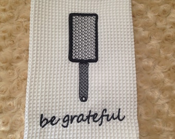 Be Grateful kitchen towel. Black and white