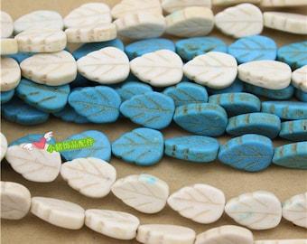 25pcs 13x9mm Composite Stone  Turquoise Leaf  Shape  Beads  2 Colors