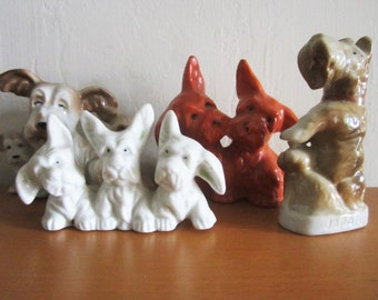 Vintage Lot of Ceramic Dog Figurines Japan