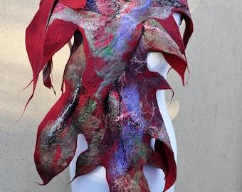 Beautiful shawl, felted scarf, silk, wool, felted, gift, fiber art, wine color, purple, brown, grey, black