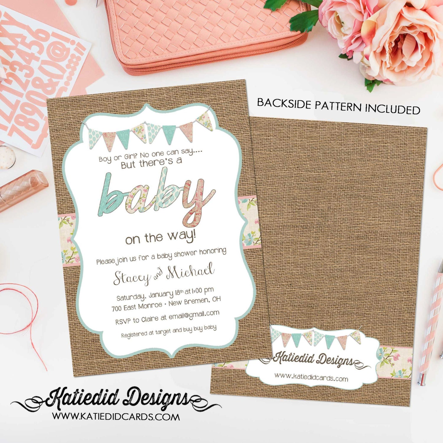gender neutral baby shower invitations burlap pink blue bunting