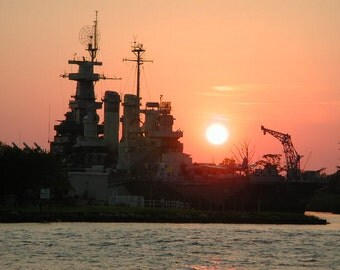 Battleship, NC, Photo, Wilmington NC, Sunset, Photography, River, Cape Fear, Water, Photo for sale, art