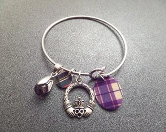 Scottish Tartan Bangle Bracelet with Claddaugh and Birthstone, Highland Dance, Scotland Jewelry Purple and Red