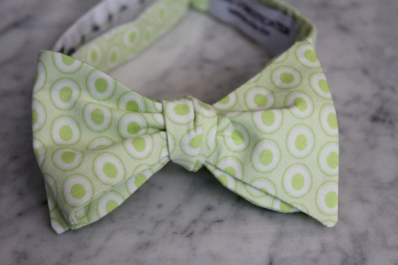 Mint Green Double Dots Bowtie - Groomsmen and wedding tie - clip on, pre-tied with strap or self tying